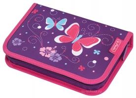 Пенал Herlitz с наполнением (31 предмет) - Purple Butterfly