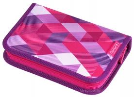 Пенал Herlitz с наполнением (31 предмет) - Pink Cubes