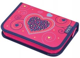 Пенал Herlitz с наполнением (31 предмет) - Pink Hearts